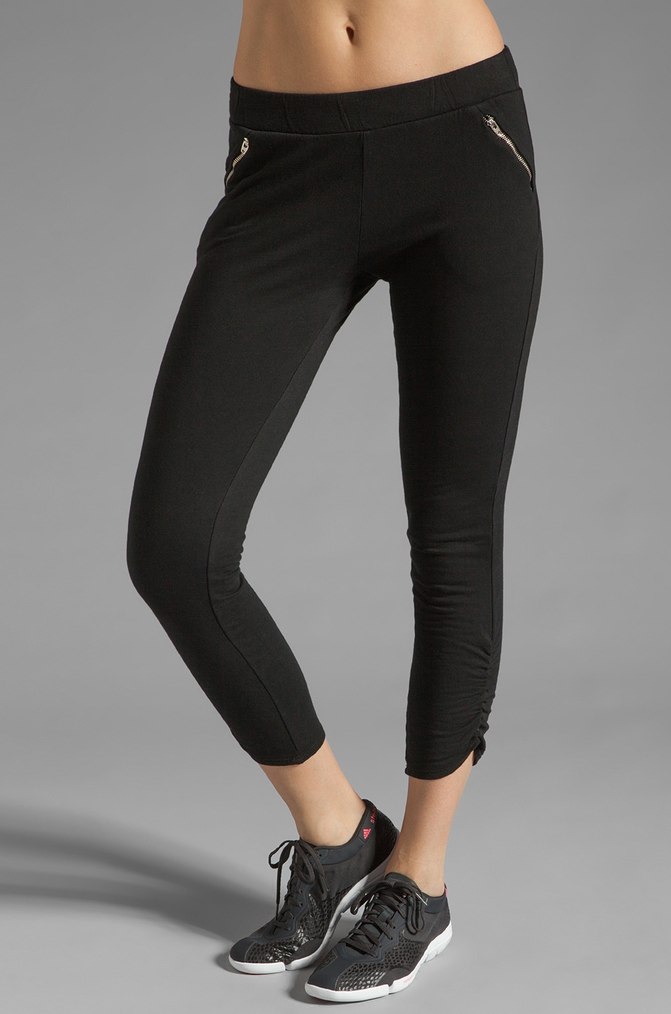 SOLOW Ankle Zip Crop Pant in Black