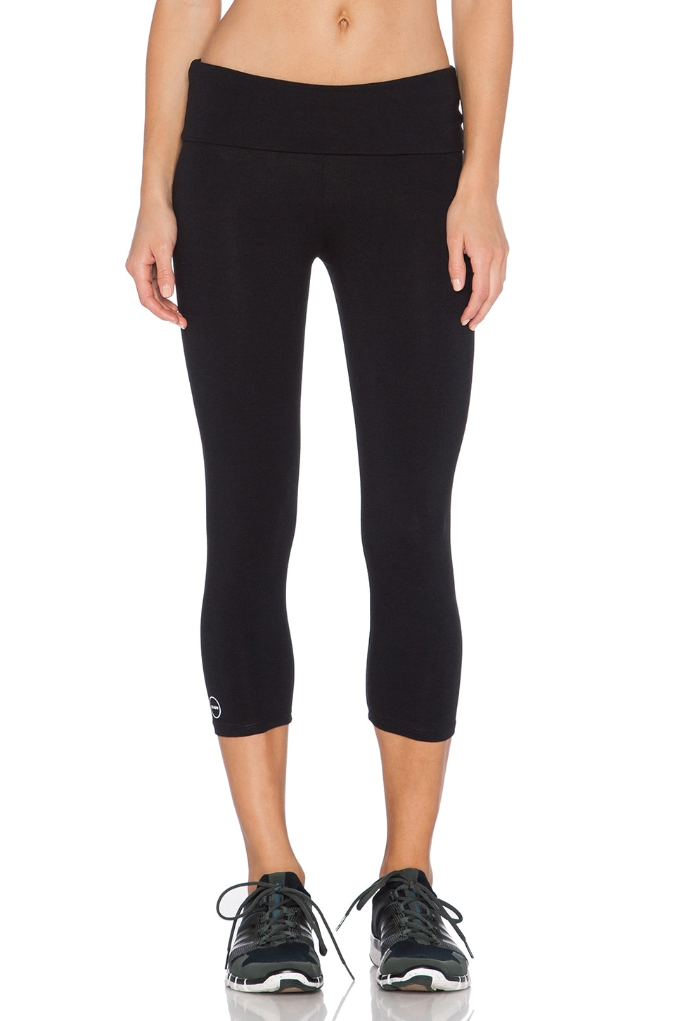 SOLOW Fold Over Crop Legging in Black