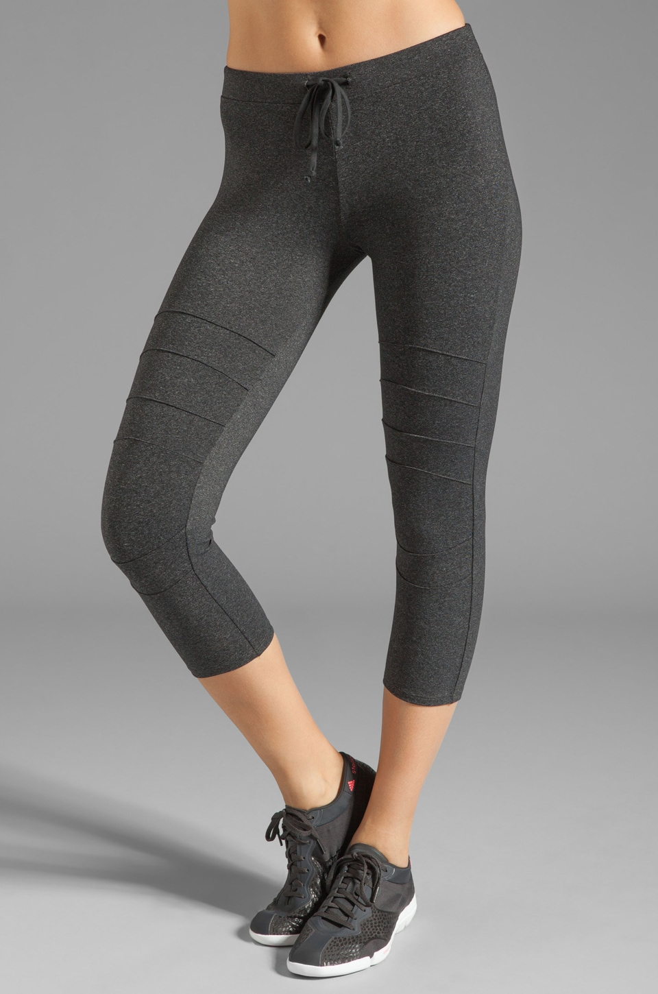 SOLOW Eclon Moto Crop Running Pant in Heather Charcoal