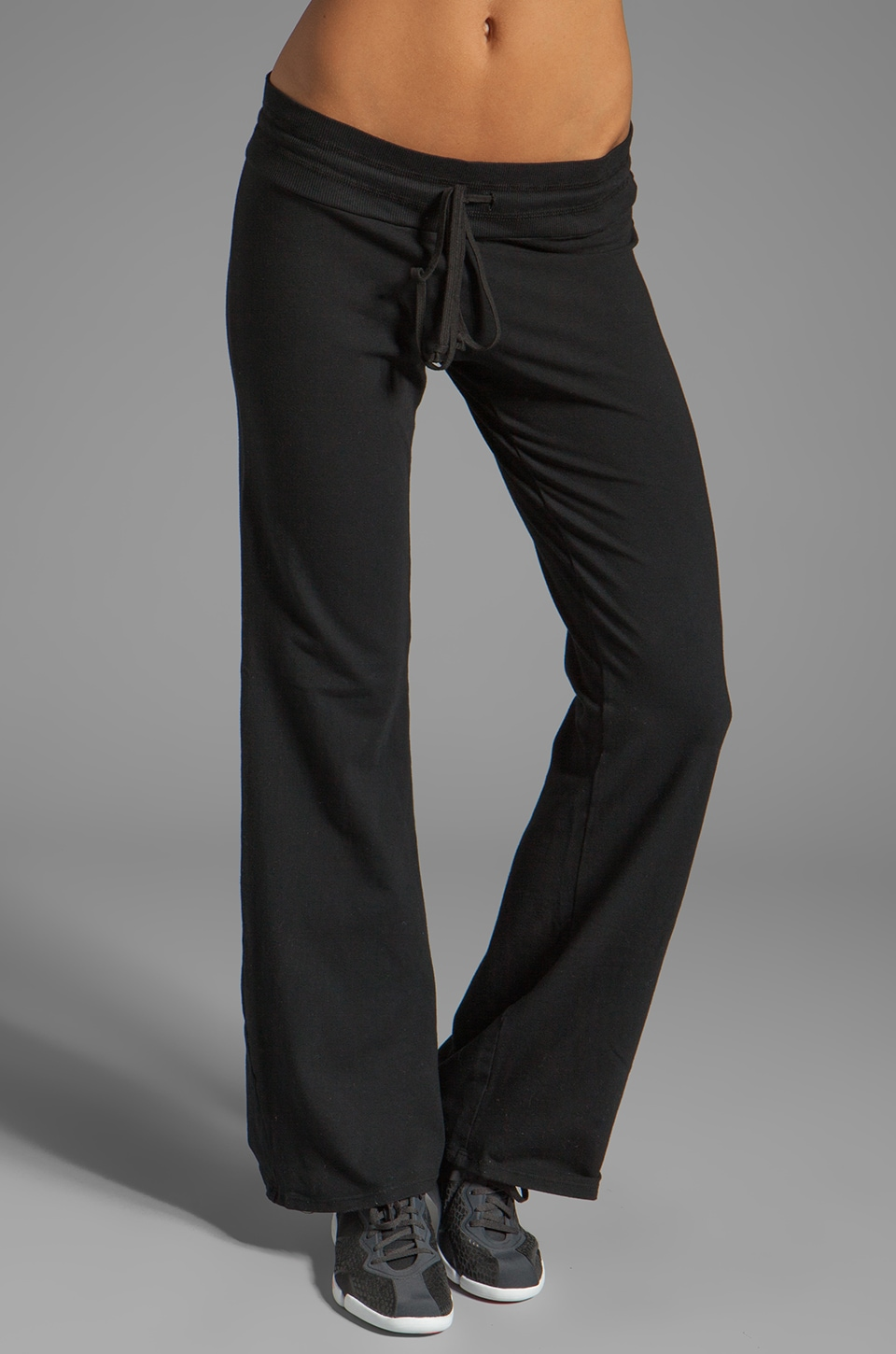 SOLOW Basic Drawstring Wide Leg Pant in Black