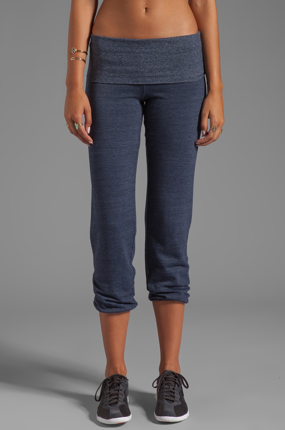 SOLOW Fold Over Dancer's Warm-Up Pant in Navy