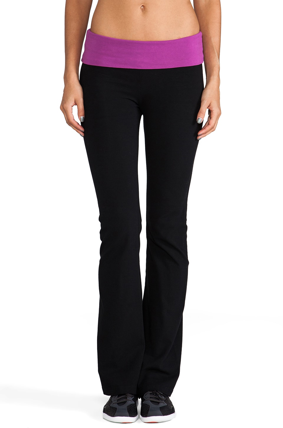 SOLOW Fold Over Boot Cut Pant in Black/Flora
