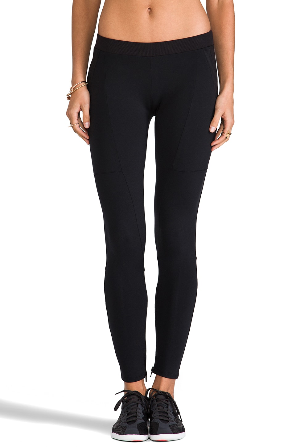 SOLOW Eclon Leggings w/ Front Zip in Black