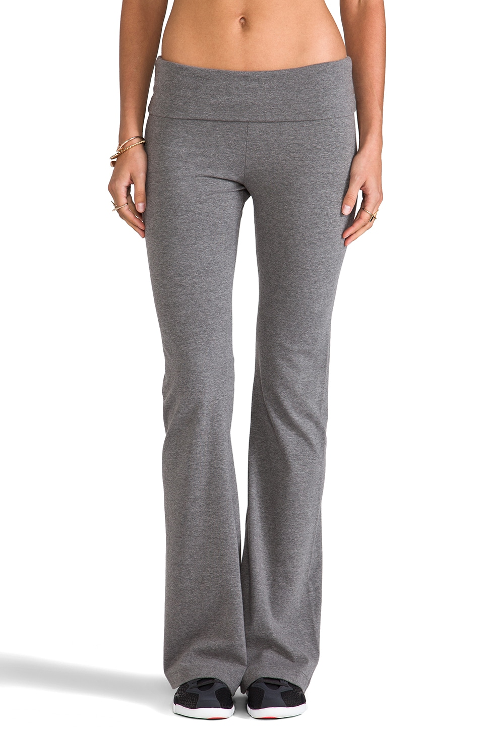 SOLOW Basics Fold Over Pant in Medium Heather Grey