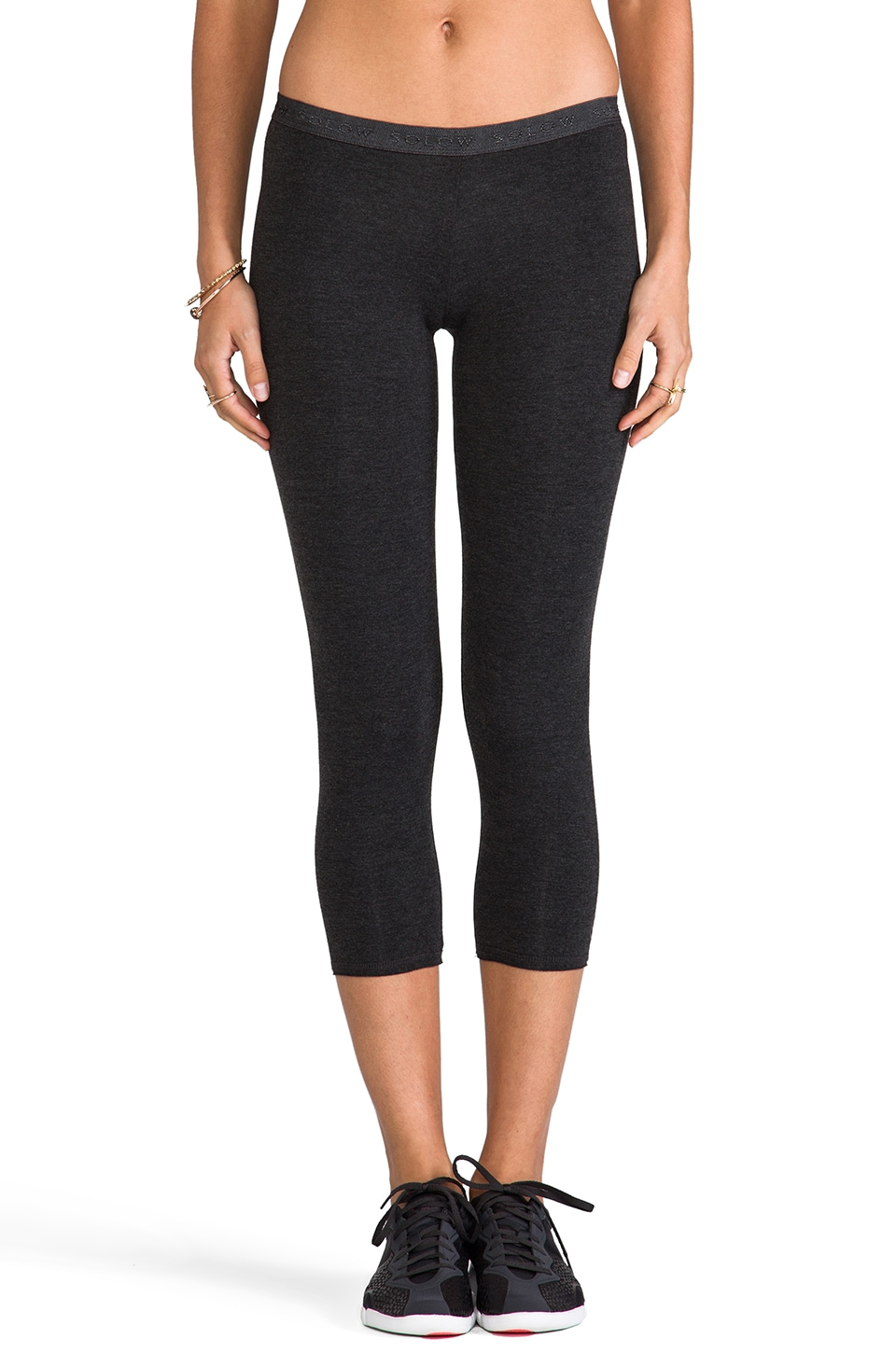 SOLOW Low Rise Crop legging in Heather Charcoal