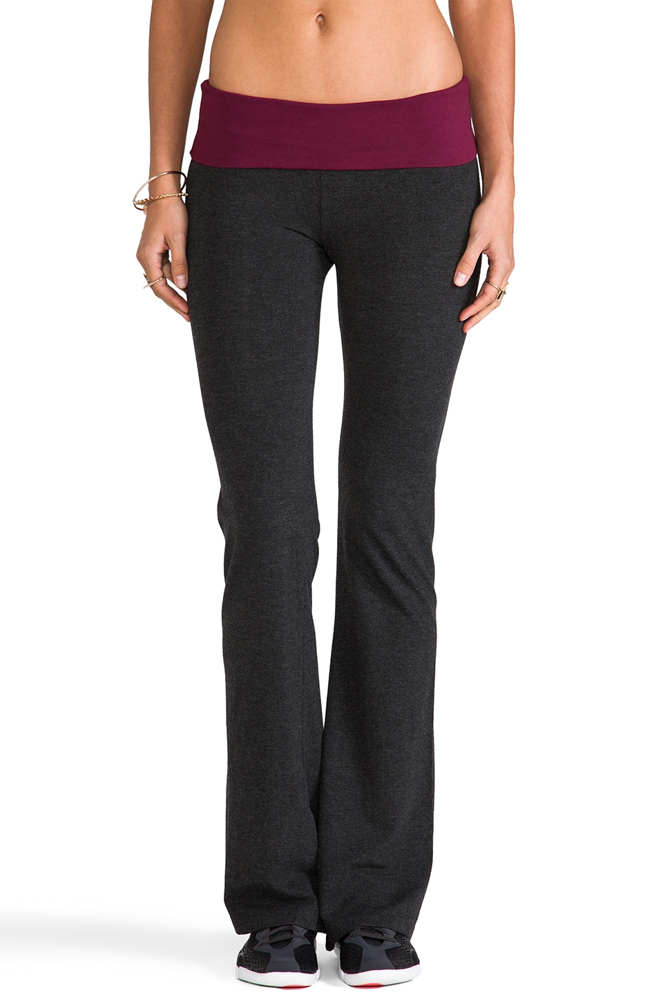 SOLOW Basics Contrast Fold Over Pant in Heather Charcoal/Oxblood