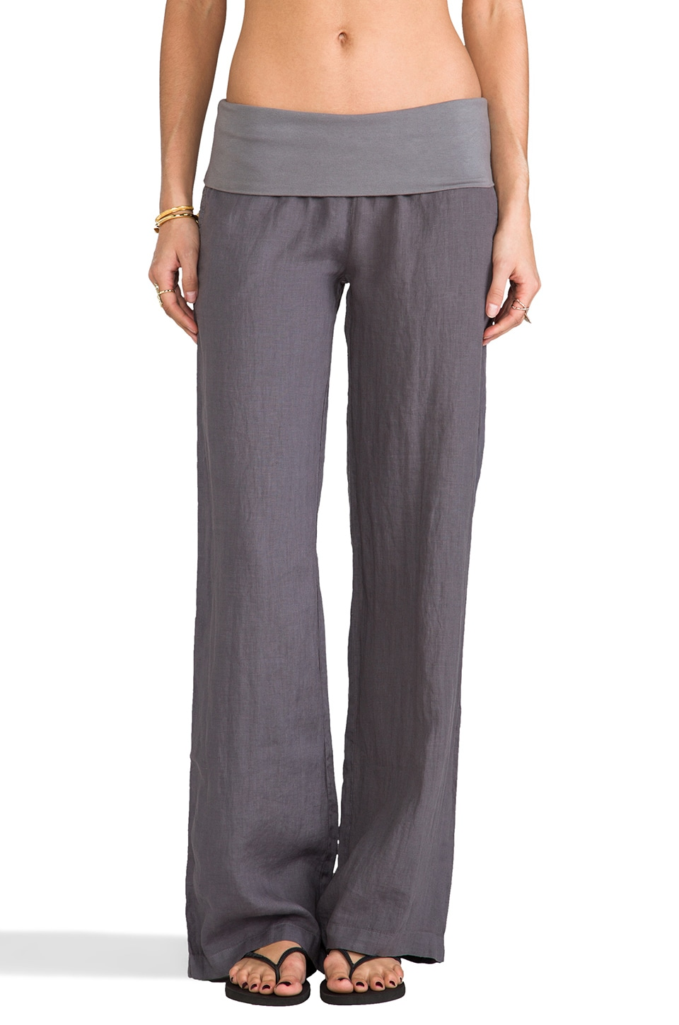 SOLOW Foldover Wide Leg Pant in Gunmetal