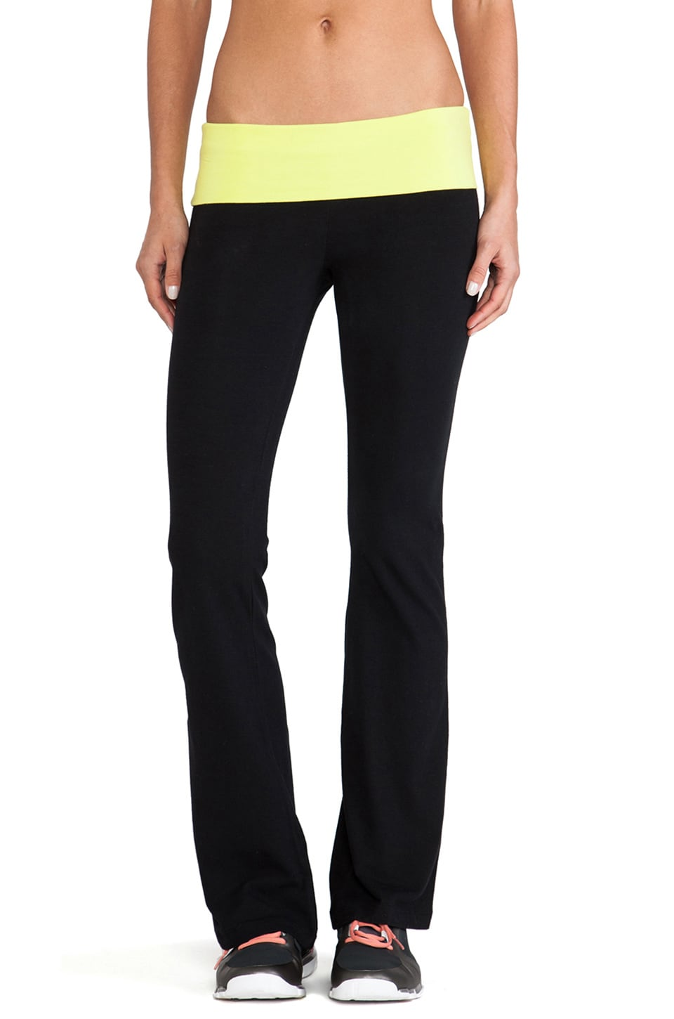 SOLOW Fold Over Boot Cut Pant in Black & Citron