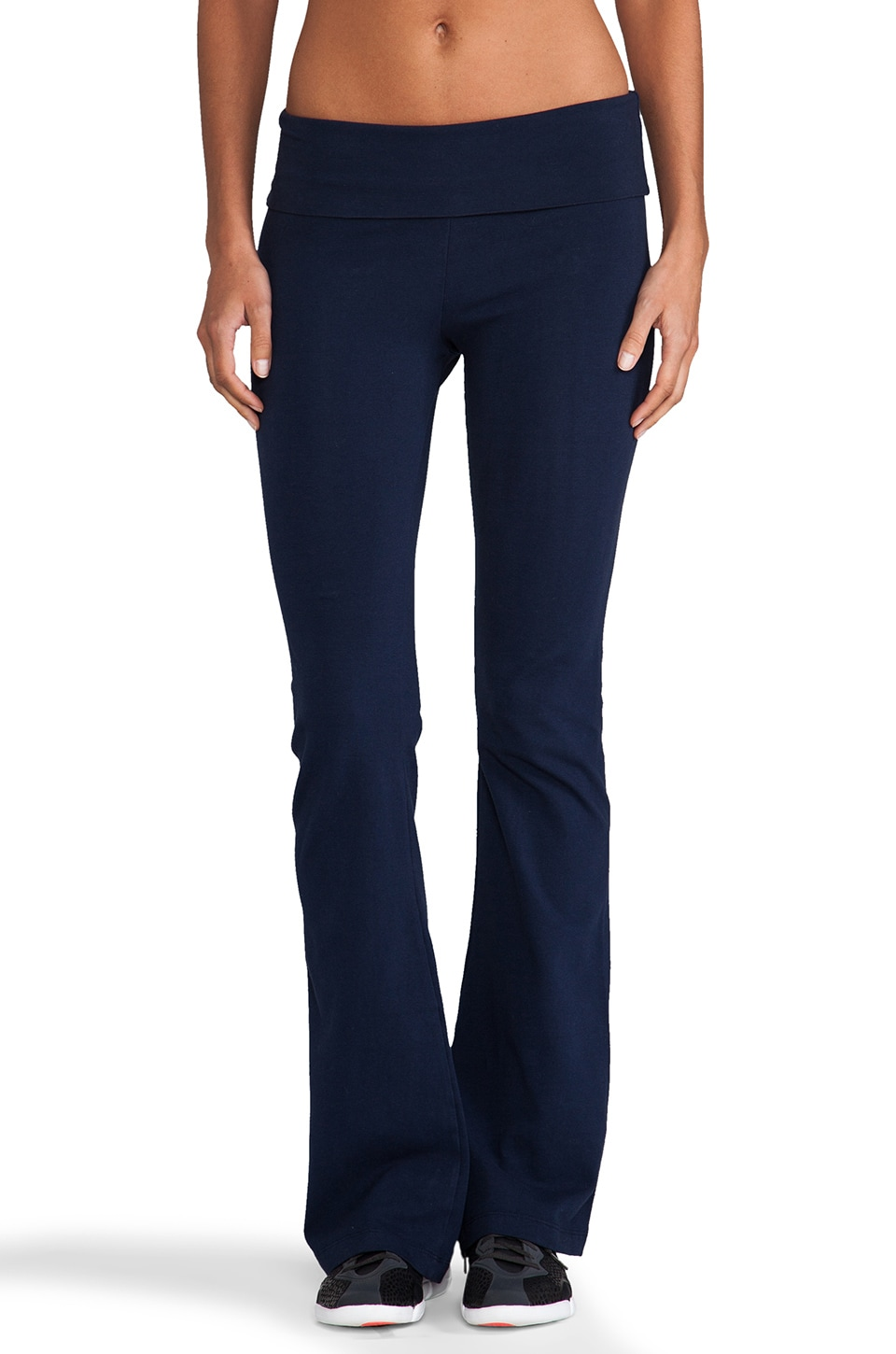 SOLOW Basics Fold Over Pant in Navy