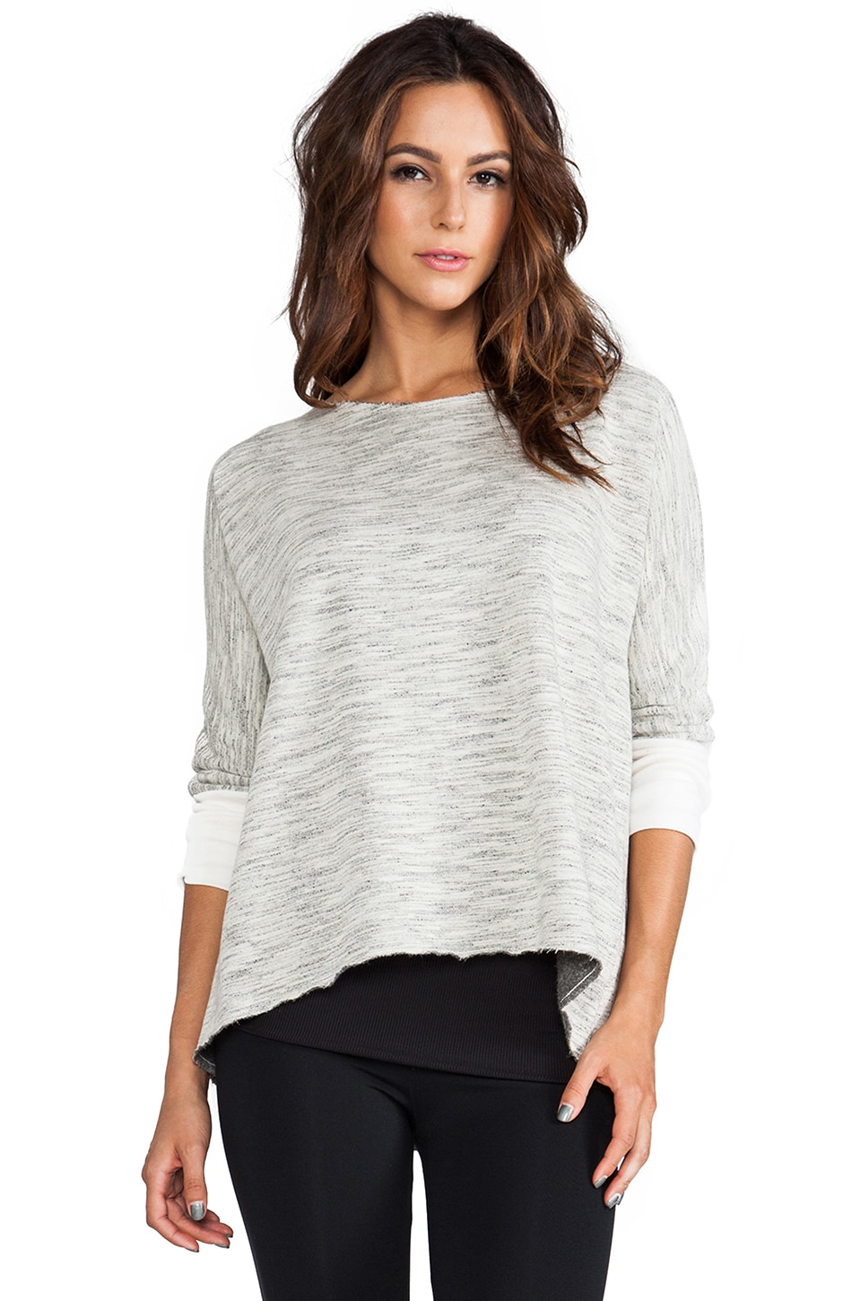 SOLOW Movie Night Fleece Swing Pullover in Whisper