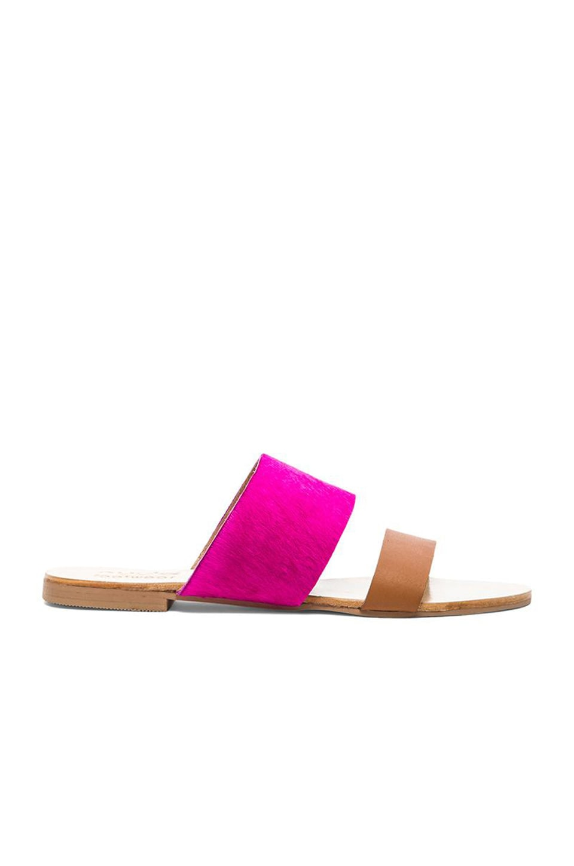 SOLES X NUDE National Velvet Cow Hair Sandal in Hot Pink & Tan