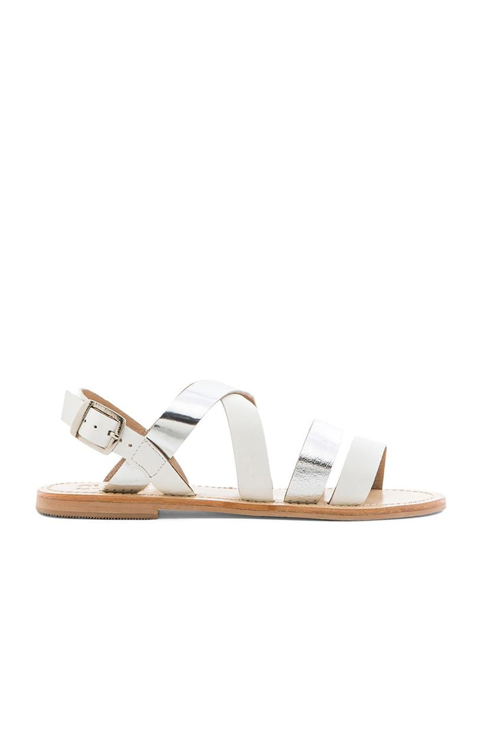 SOLES X NUDE Warlander Sandal in Silver & White