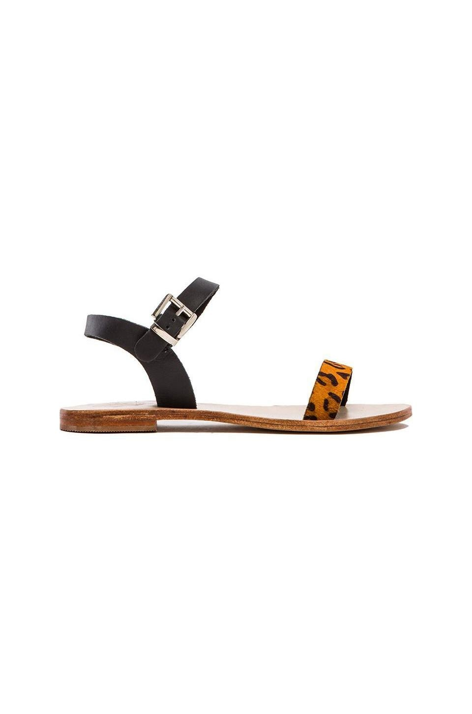Sol Sana Rebel Calf Hair Sandal in Black & Orange Pony