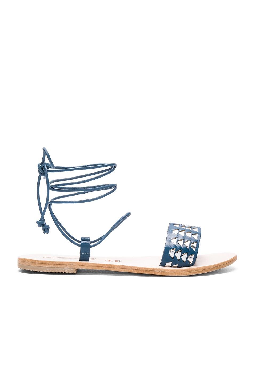 Sol Sana Ara Geo Weave Sandal in Blue Jean & Silver