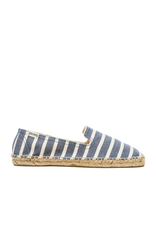 Soludos Classic Stripe Smoking Slipper in Light Navy & White