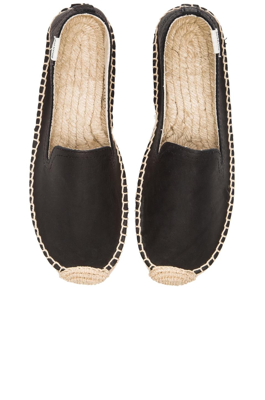 Soludos Smoking Slipper Platform Leather Espadrille in Black