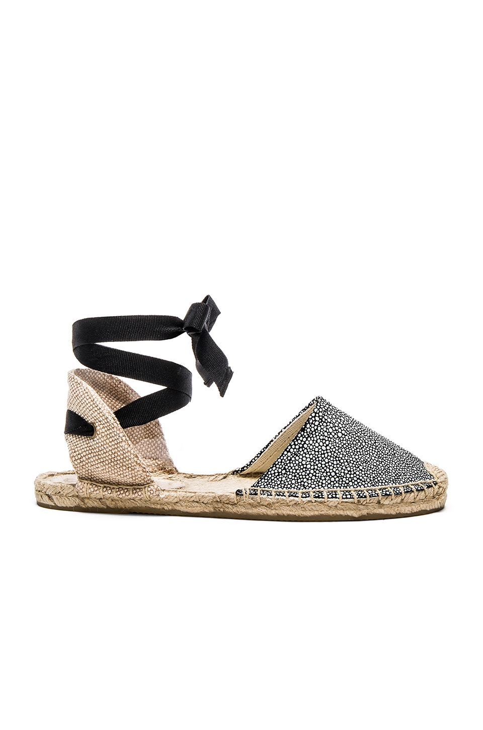 Soludos Classic Sandal Textured Leather in Caviar Black