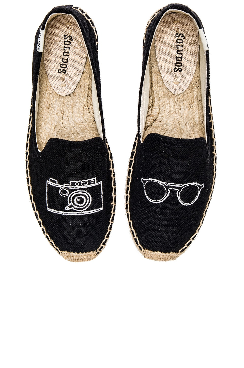 Soludos Camera Embroidered Smoking Slipper in Black Linen