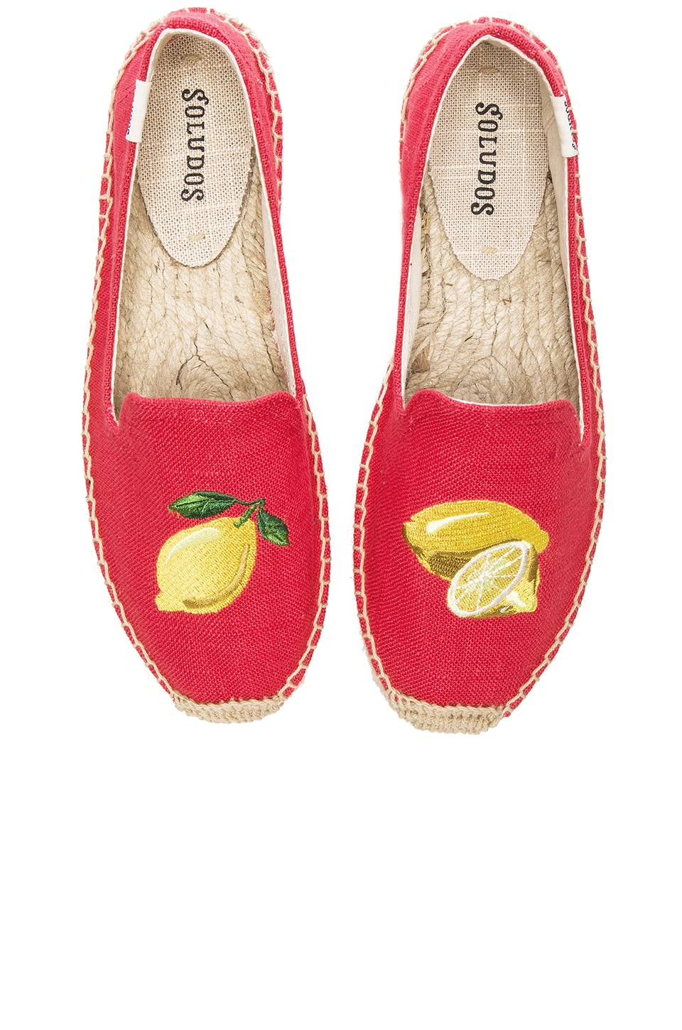 Soludos Lemons Embroidered Smoking Slipper in Coral Linen