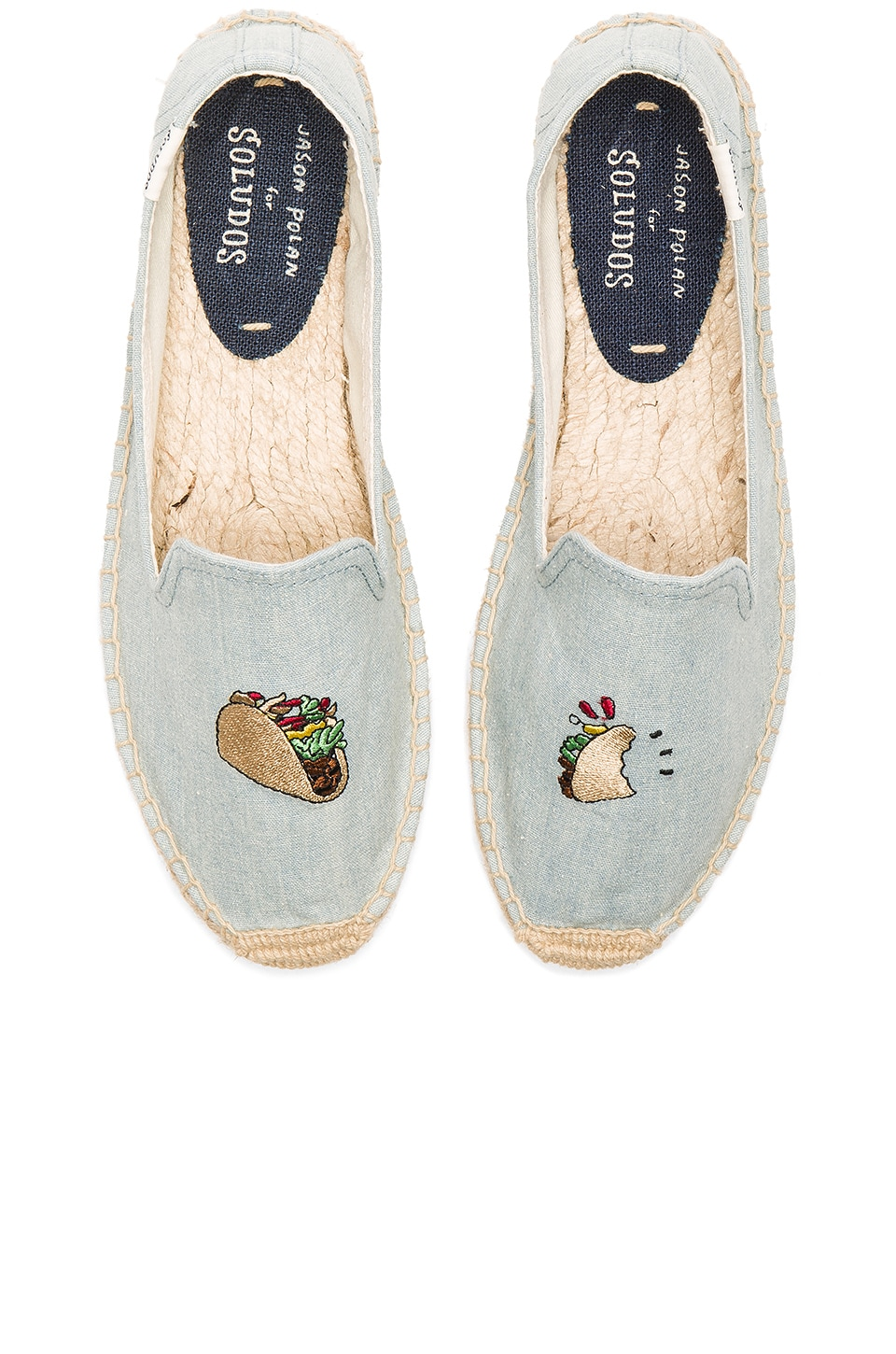 Soludos Embroidered Smoking Slipper in Chambray