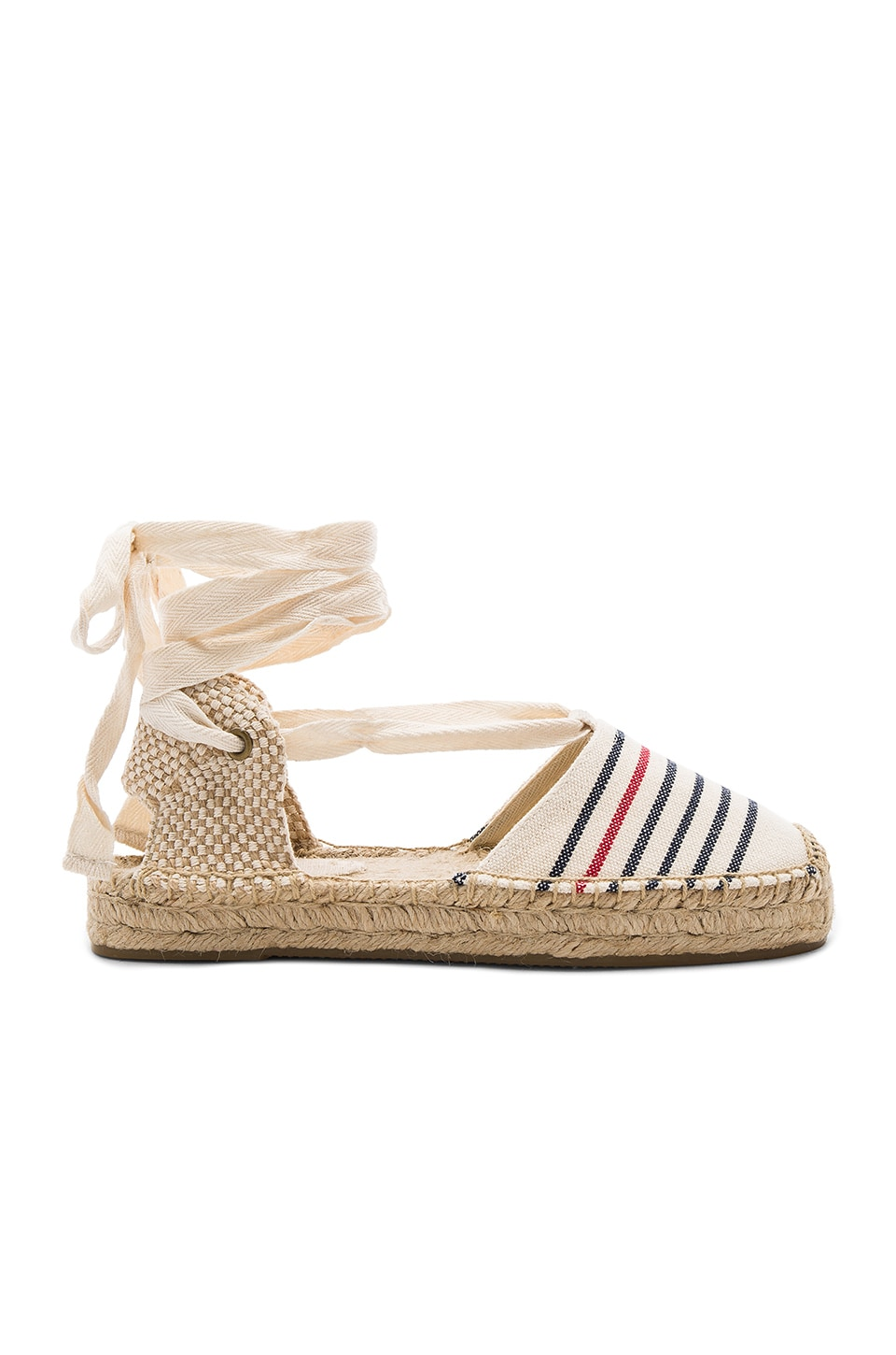 Soludos Striped Gladiator Sandal in Red Navy Natural