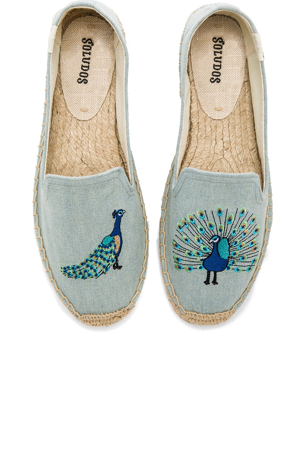 Soludos Peacock Smoking Slipper in Chambray