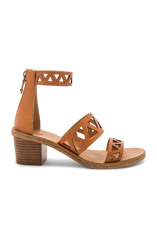 Soludos Geo Laser Cut Mid Heel Sandal in Sunburst