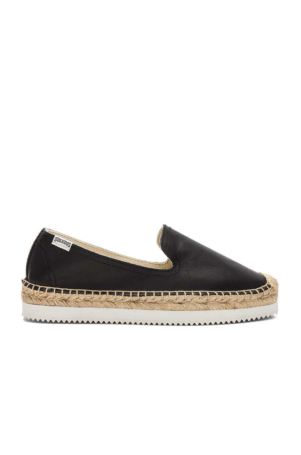 Soludos Platform Mix Sole Smoking Slipper in Black
