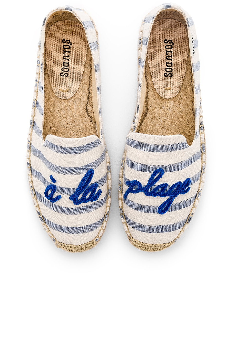 Soludos A La Plage Smoking Slipper in Natural & Blue