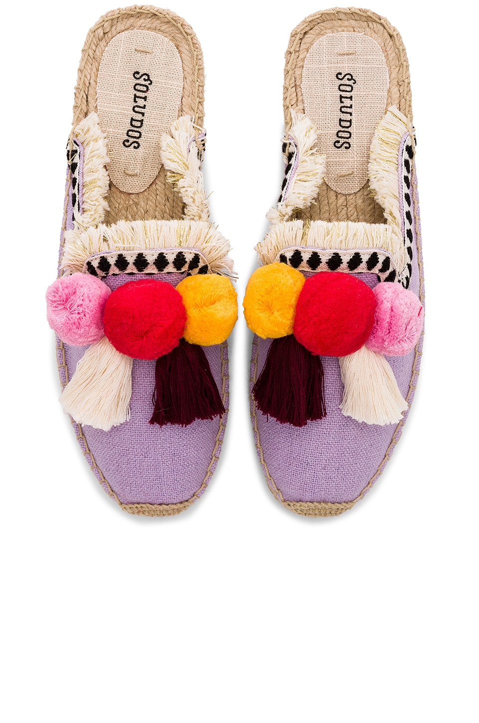 Soludos Frayed Edge Pompom Espadrille in Lilac