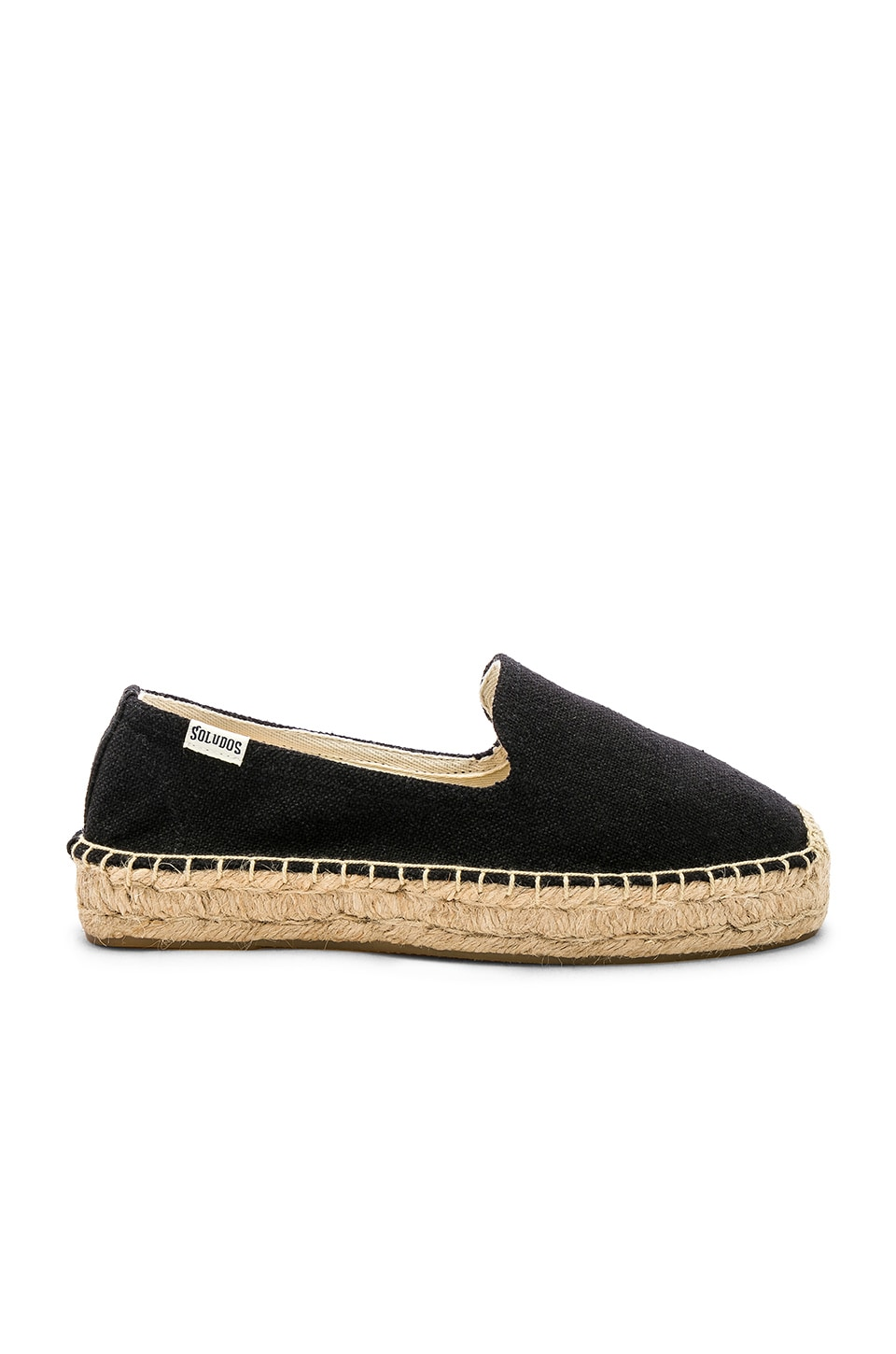 Soludos Platform Smoking Slipper in Black