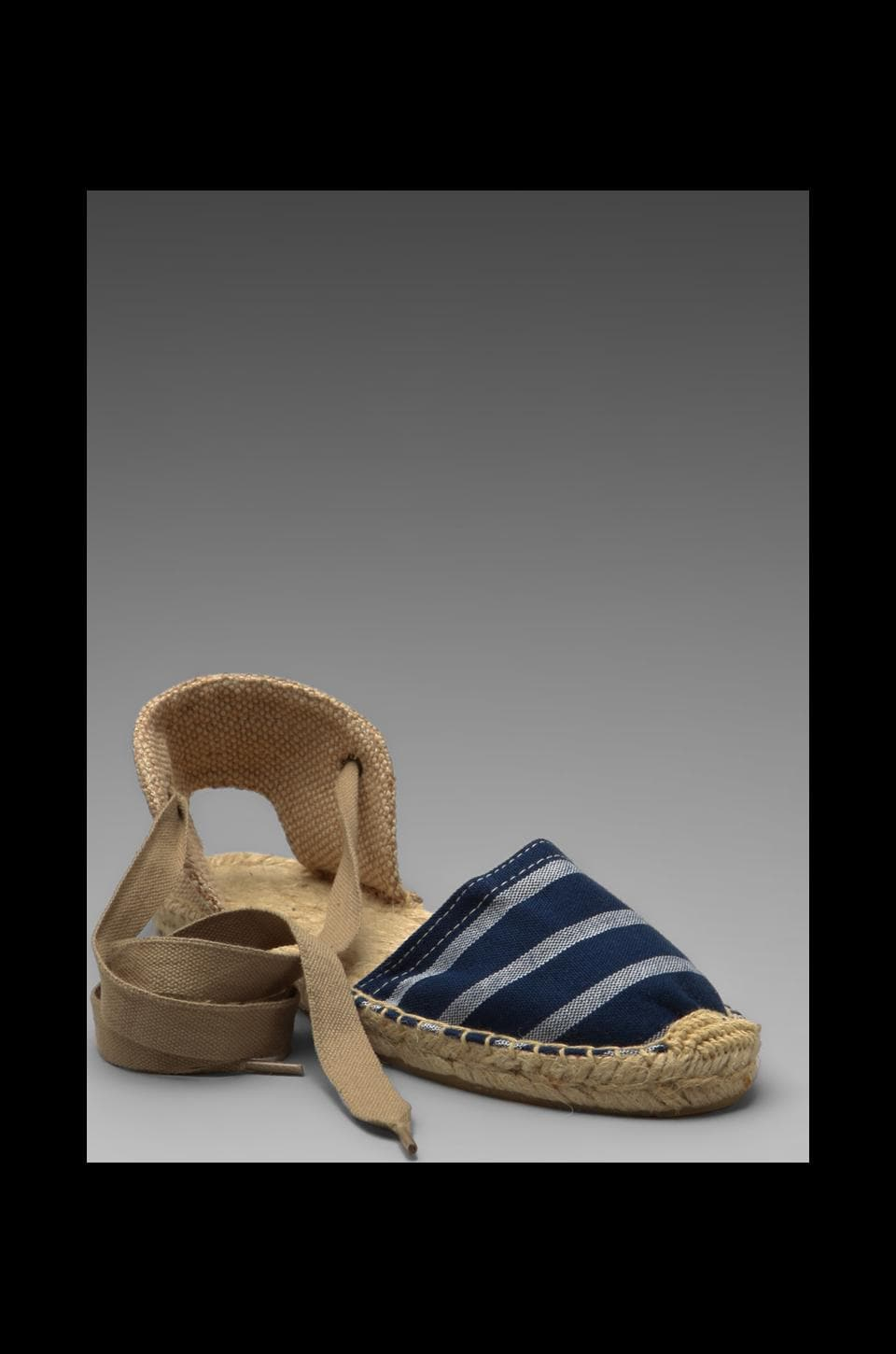 Soludos Stripe Sandal in Navy White Closed