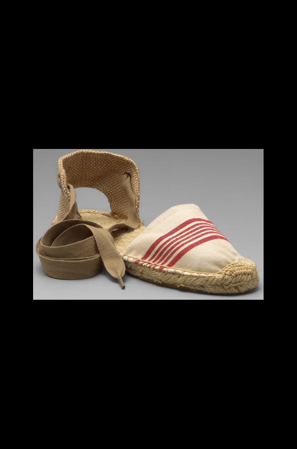 Soludos Stripe Sandal in Natural Red Closed