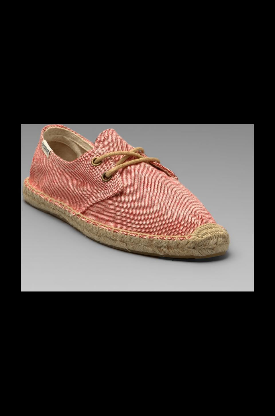 Soludos Linen Derby Lace Up in Coral