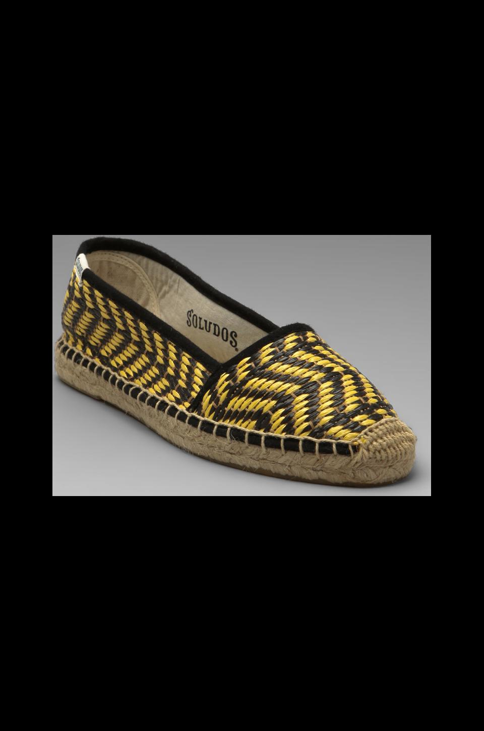 Soludos Raffia Low Cut in Black Yellow