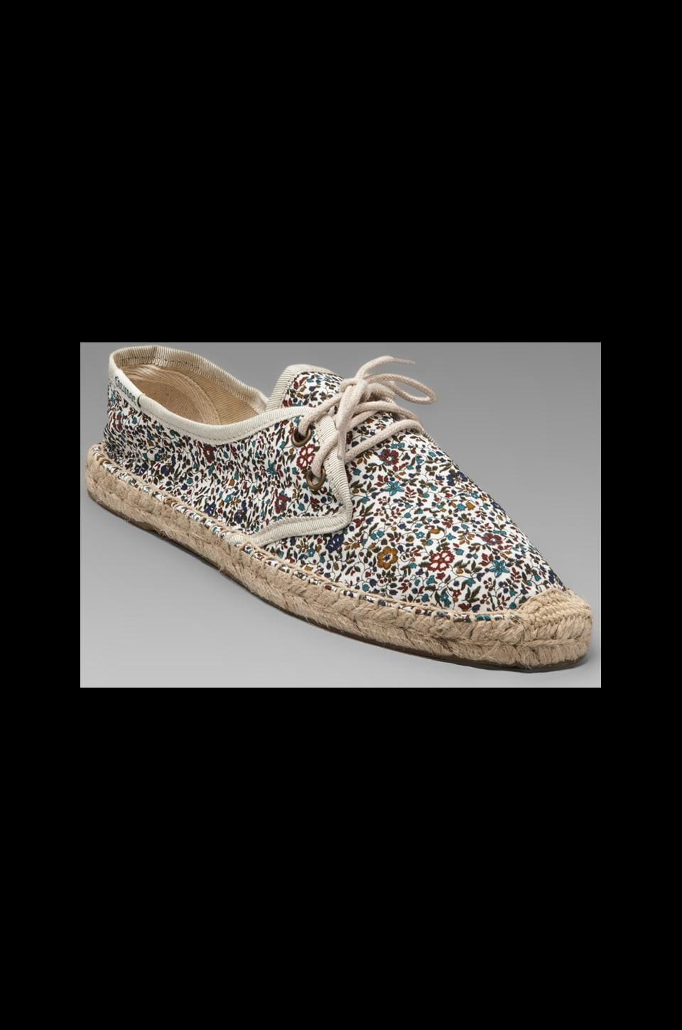 Soludos Liberty Print Small Floral Lace Up in White Blue Liberty Print