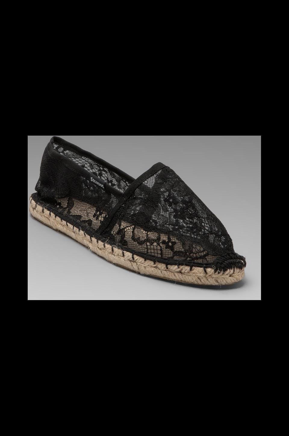 Soludos Lace Flower Flat in Black