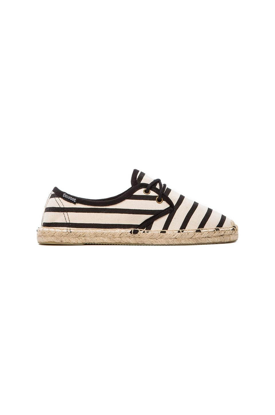 Soludos Derby Lace Up Classic Stripe in Natural Black