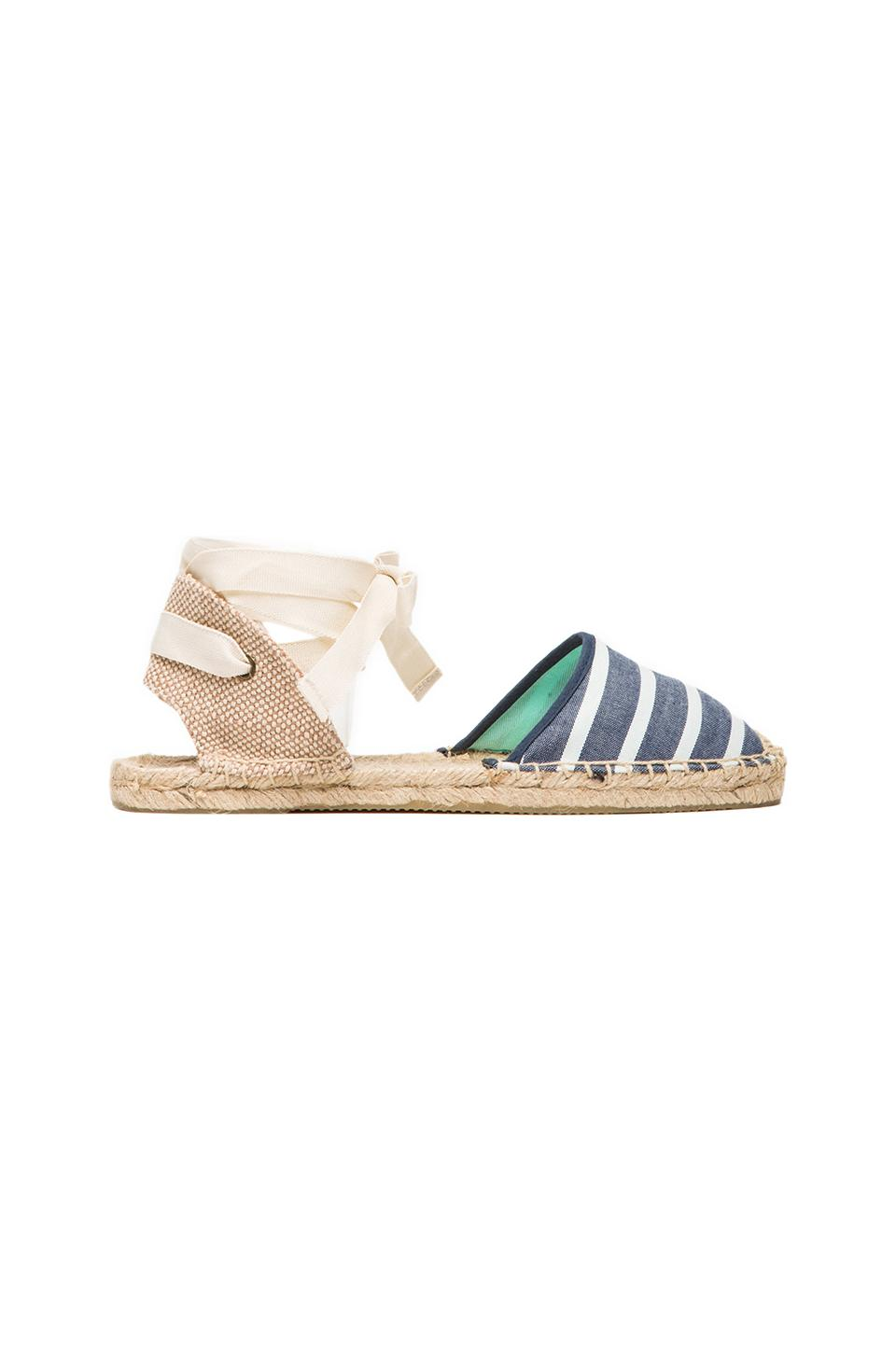 Soludos Classic Sandal Stripes in Light Navy Stripe