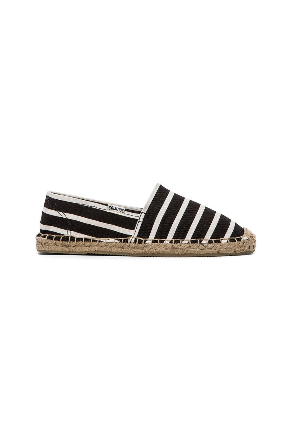 Soludos Classic Stripe Flat in Black Stripe