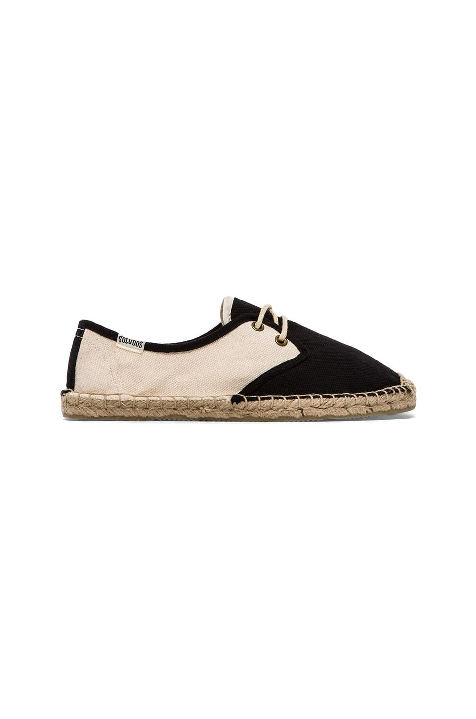 Soludos Colorblock Derby Lace Up in Black Natural