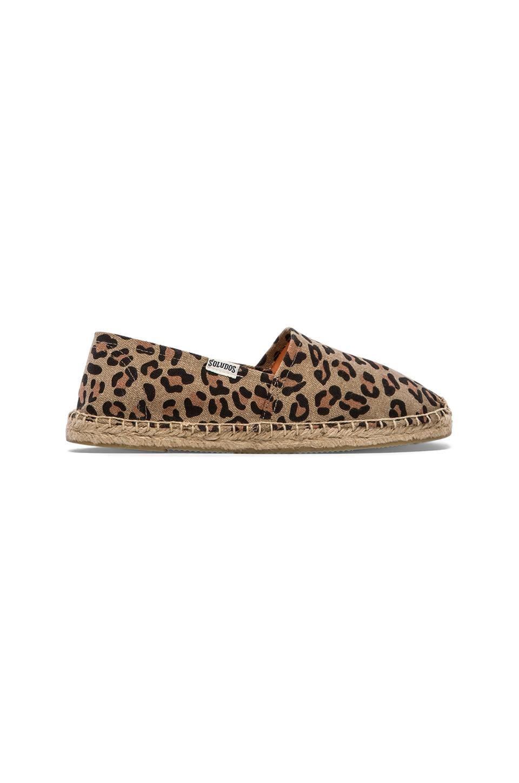 Soludos Leopard Print Flat in Tan