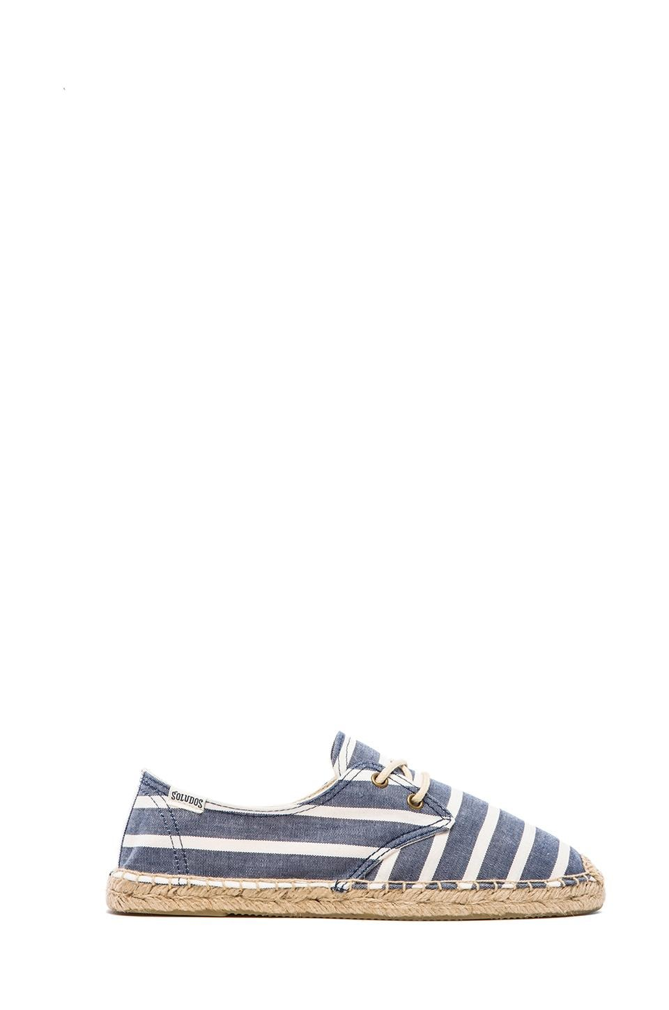 Soludos Derby Lace Up Classic Stripe in Light Navy White