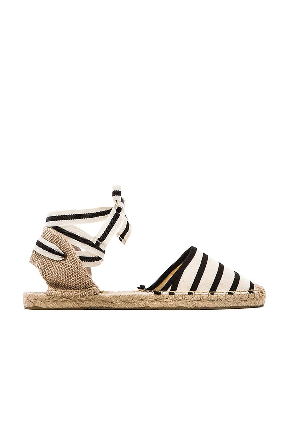 Soludos Classic Stripe Sandal in Natural Black