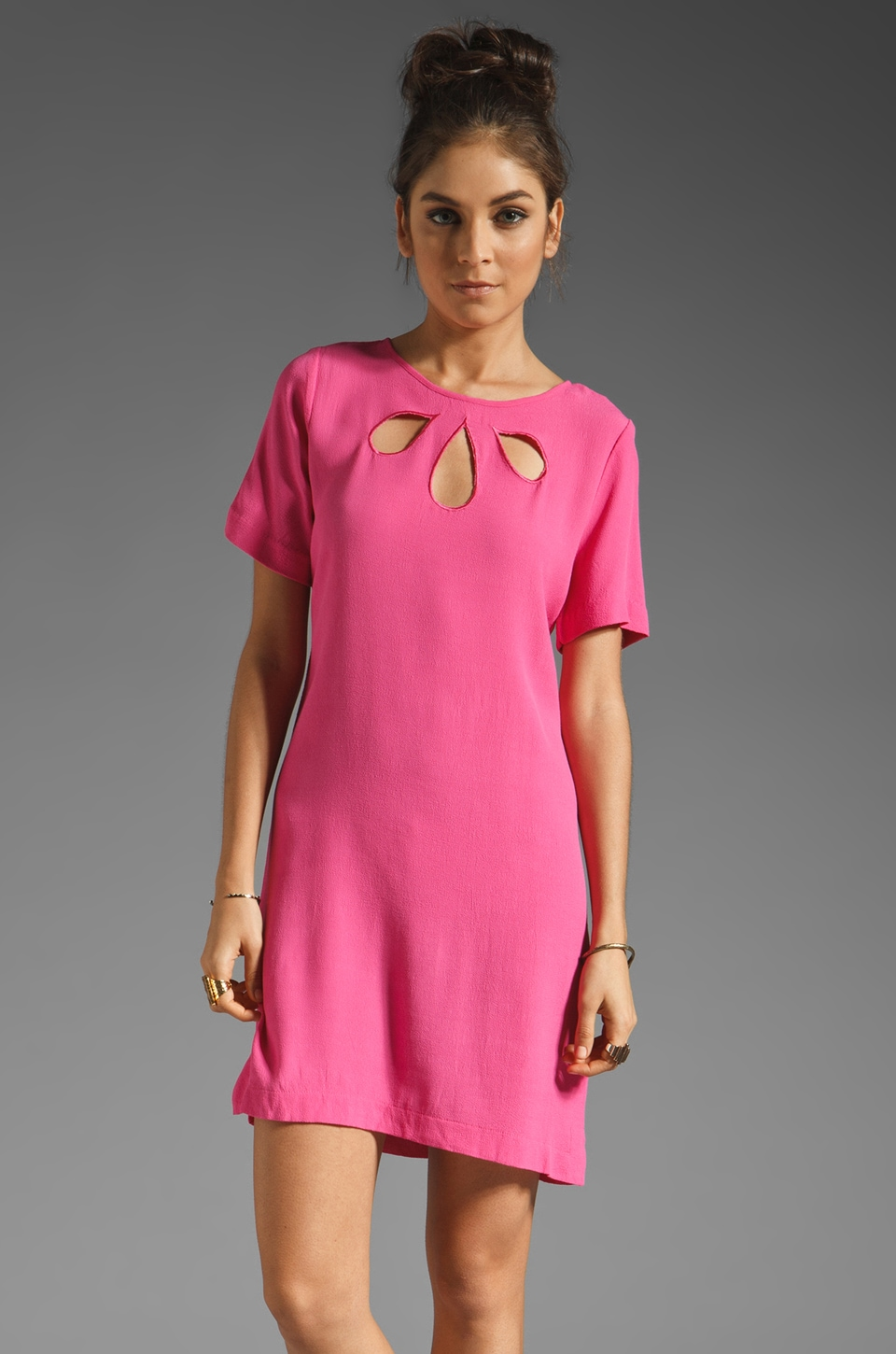 Something Else by Natalie Wood Tear Drop Tee Dress in Fuchsia