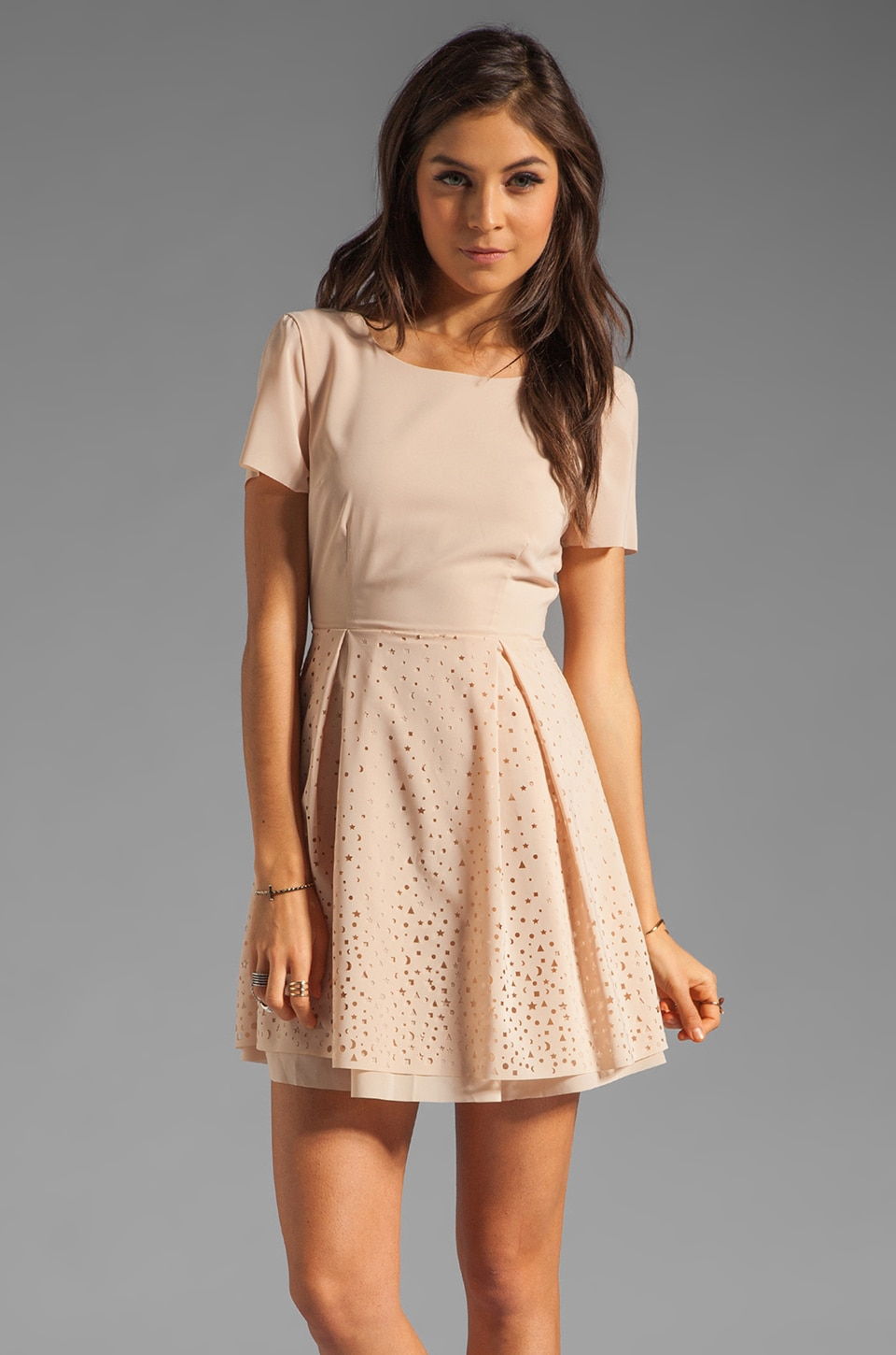 Something Else by Natalie Wood Laser Star Dress in Nude Cream