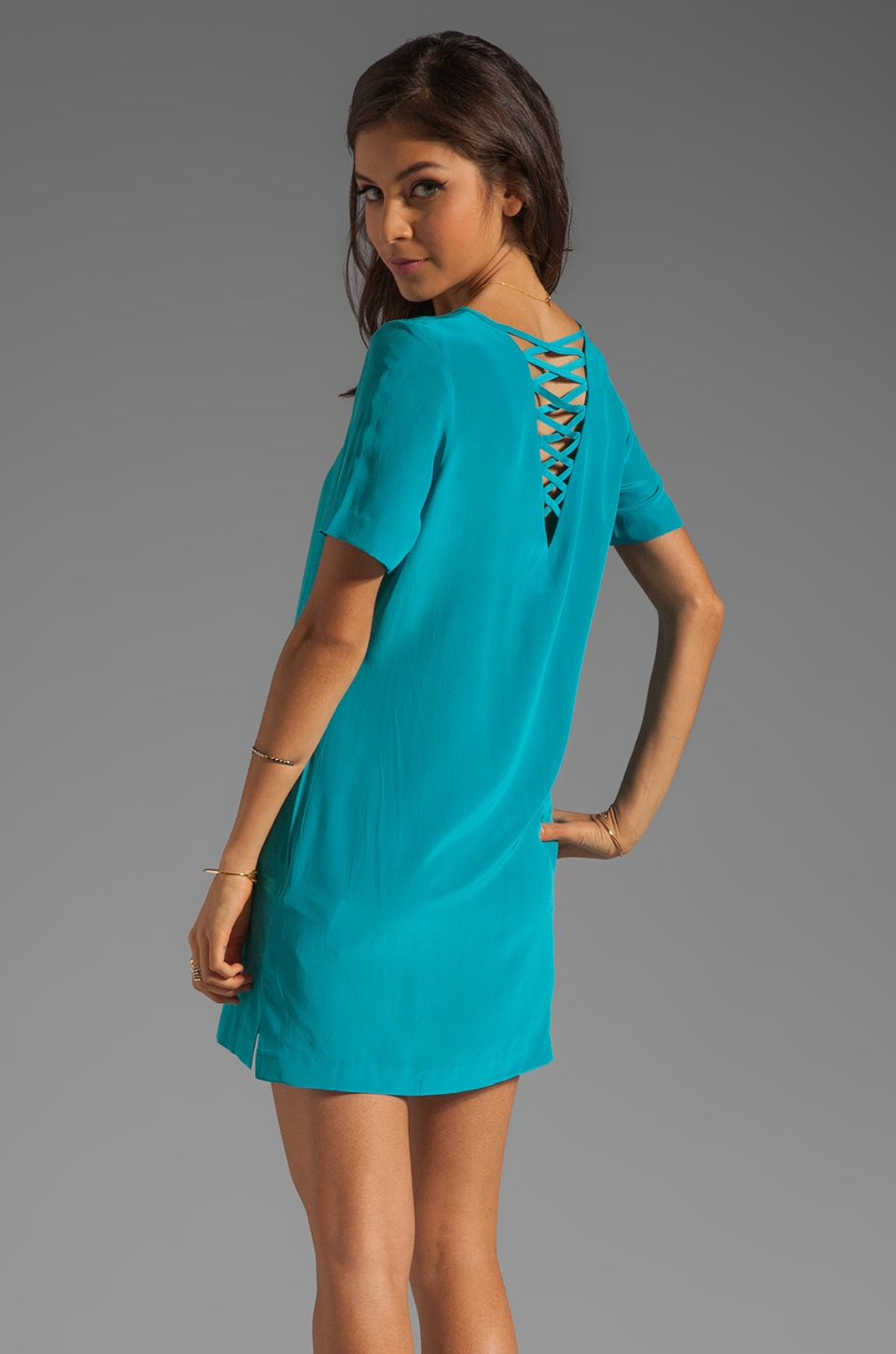 Something Else by Natalie Wood Silk Tee Dress in Aqua