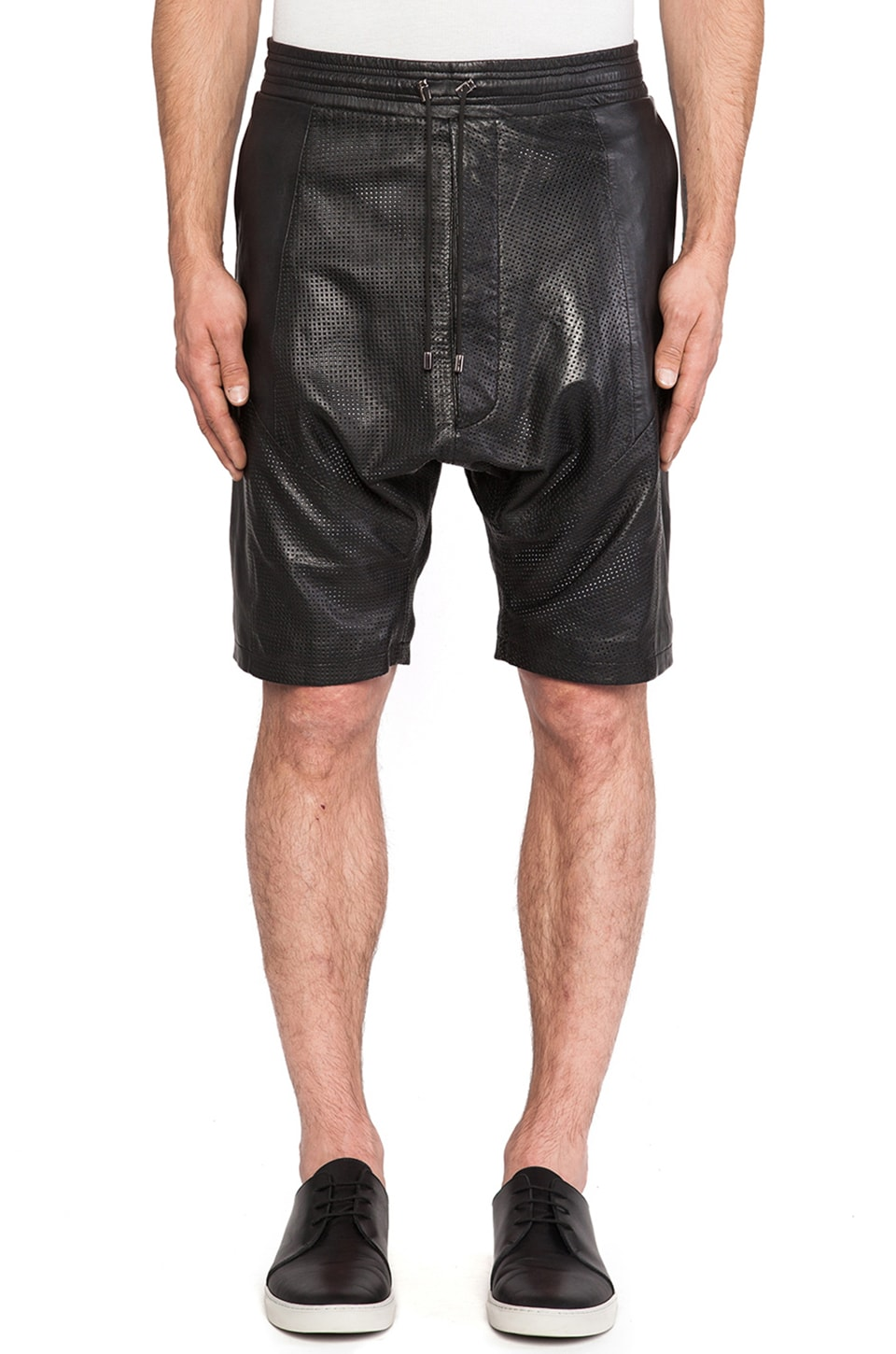 Sons of Heroes Ziggy Drop Crotch Leather Short in Black