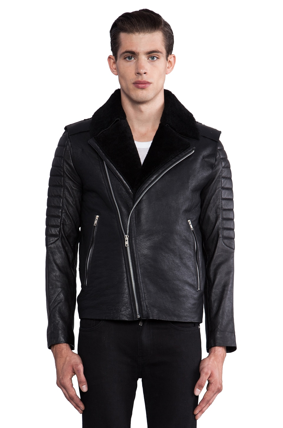 Sons of Heroes Shearling Biker in Black