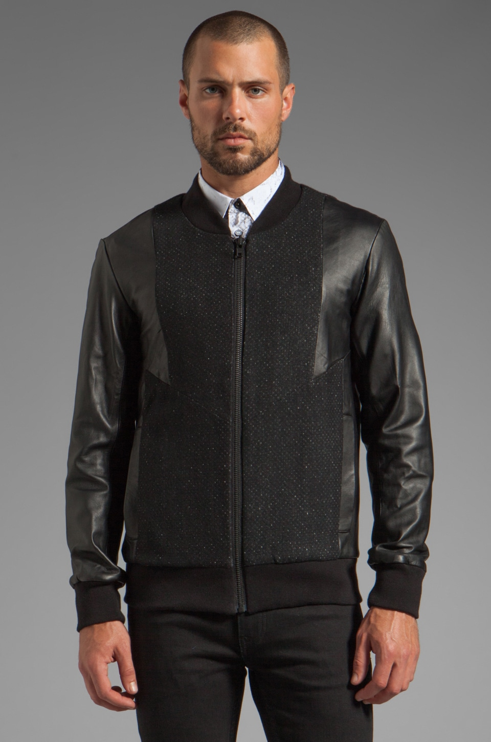Sons of Heroes Leather Ziggy Bomber Jacket in Black